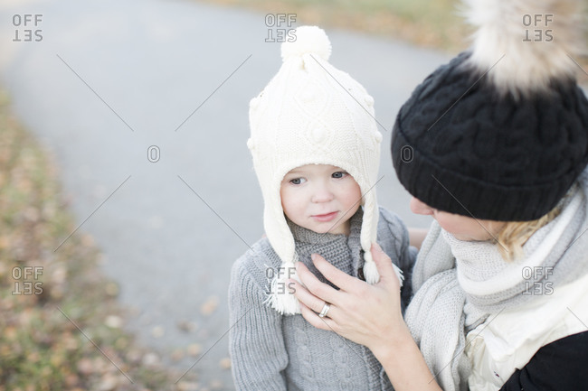 Little girl and her mother outdoors