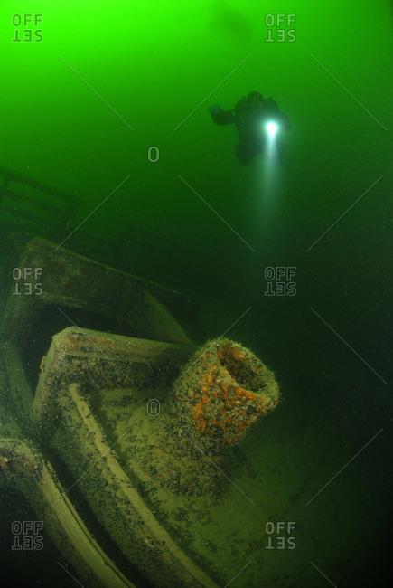 Scuba diver near a wreck