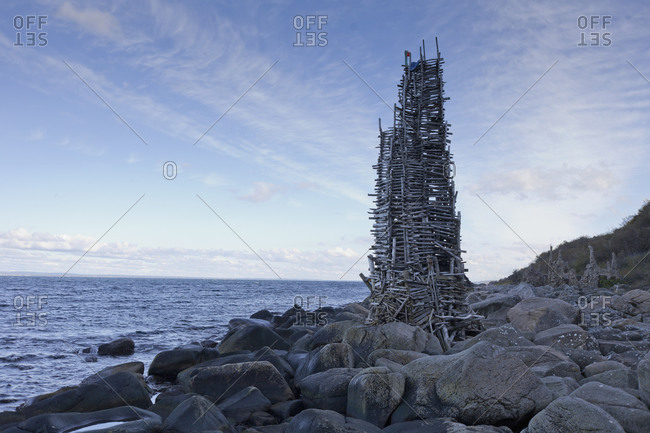 Nimis, a wooden sculpture on the shore of Kullaberg, Sweden