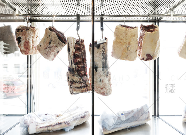Cured meats in a butcher shop