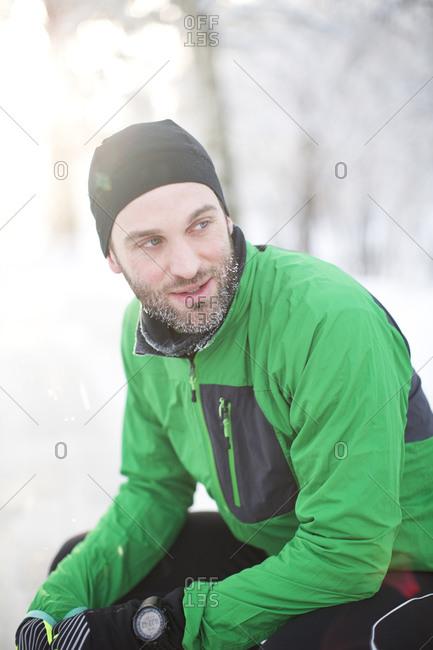 Portrait of a runner in winter