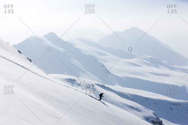 Man downhill skiing in Switzerland