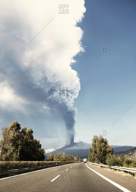 Smoke over Mount Etna, Sicily