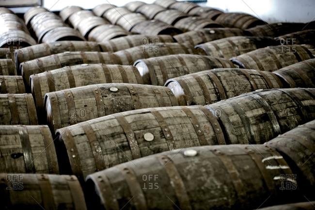 Wooden barrels in a storage room