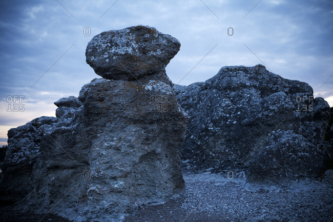 Limestone rocks at dusk in Gotland, Sweden