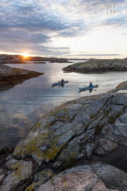 People kayaking at Fjallbacka, Bohuslan, Sweden