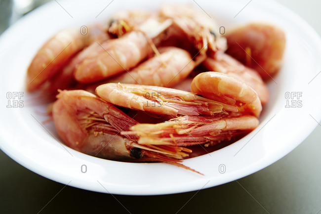 Boiled Shrimps in a bowl