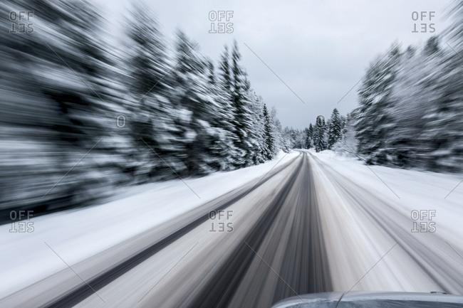 Winter road in Nacka, Sweden