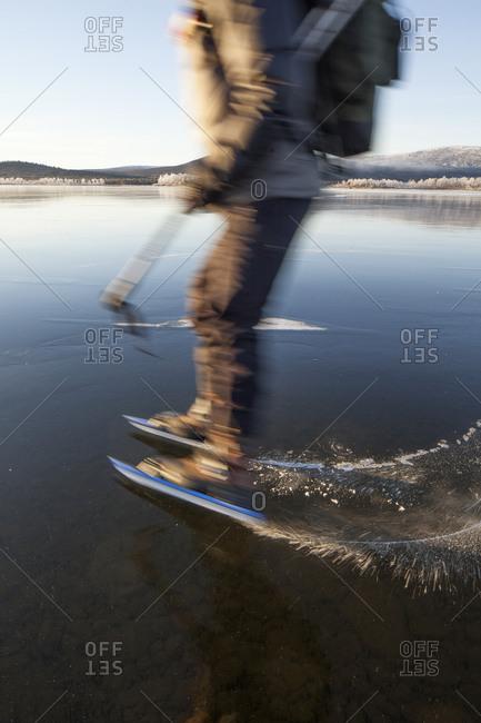 Ice skater in Kiruna, Lapland, Sweden