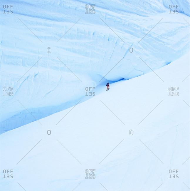 Man hiking at the Antarctic