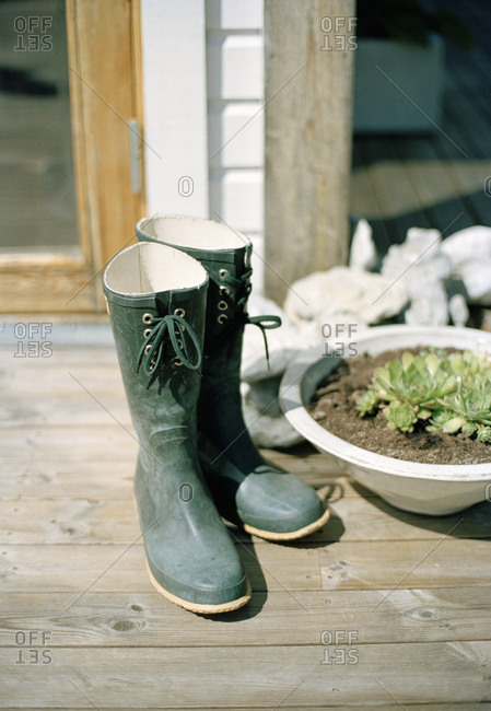 Wellington boots outdoors