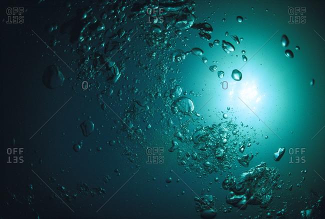 Bubbles underwater in the sea