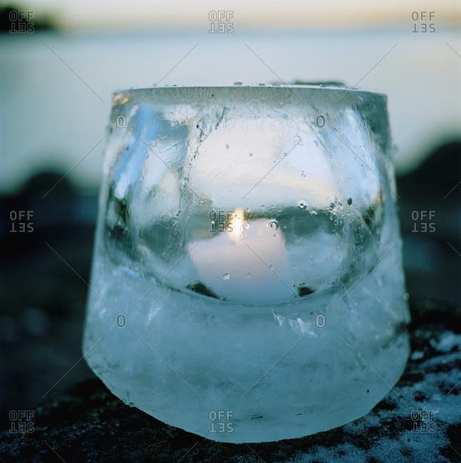 A lantern made of ice