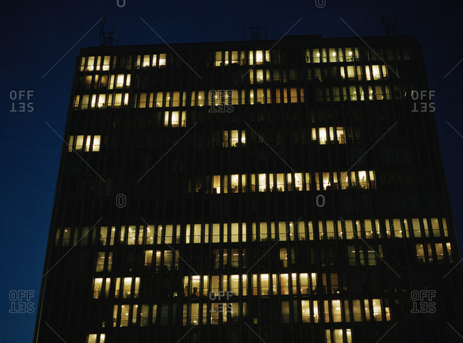 A high-rise building in Stockholm by night