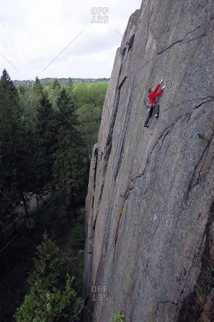 Cliff climbing in Bohuslan, Sweden