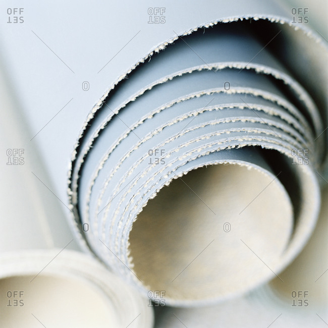 Close up of rolls of wallpaper