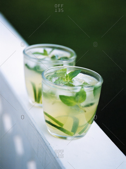 Close up of cocktails with green mint