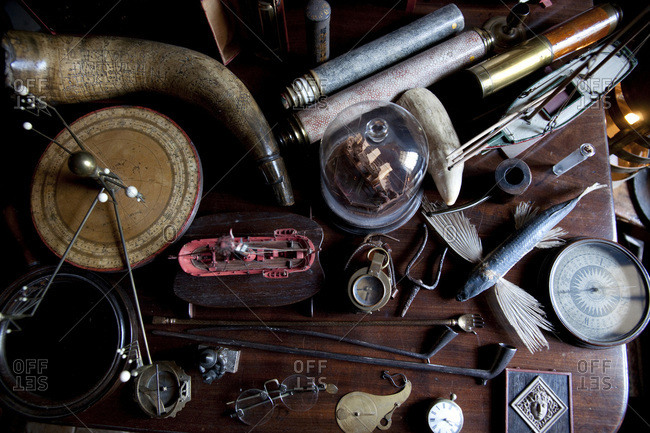 Collection of curios on table in English manor