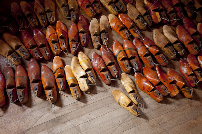 A variety of wooden shoe forms