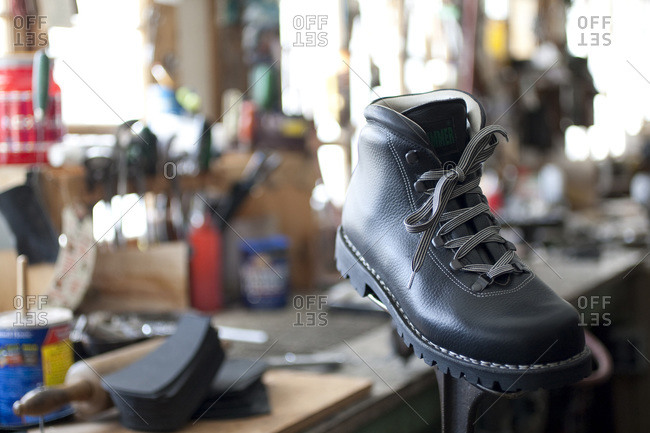 A handcrafted boot in a workshop
