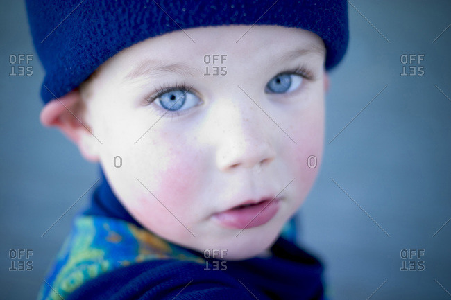 Portrait of young boy with fleece hat