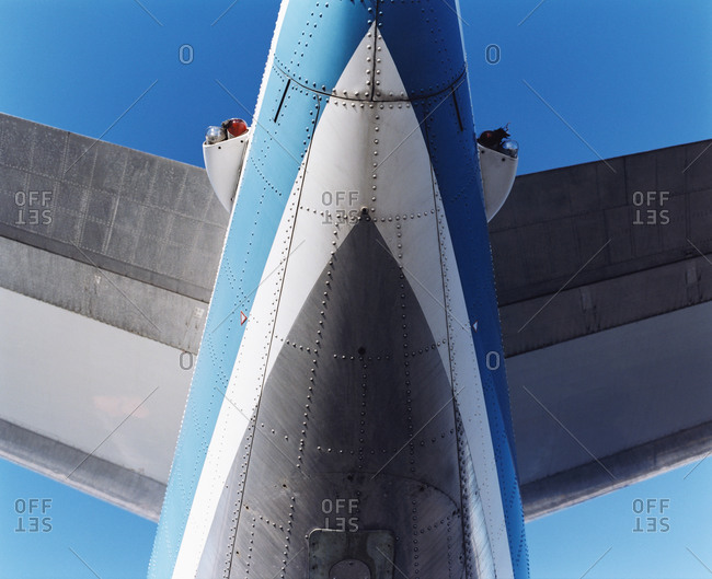 Close up of airplane flying