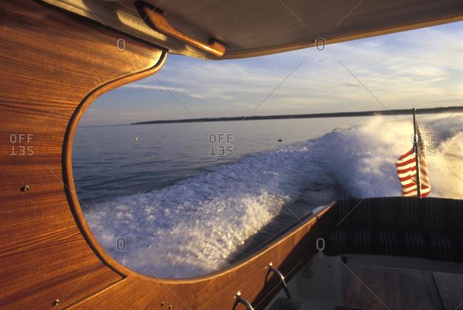 Picnic boat leaves it wake off coast of Maine