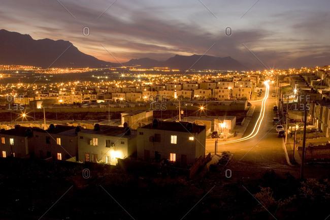 Housing development in Monterrey, Mexico at night