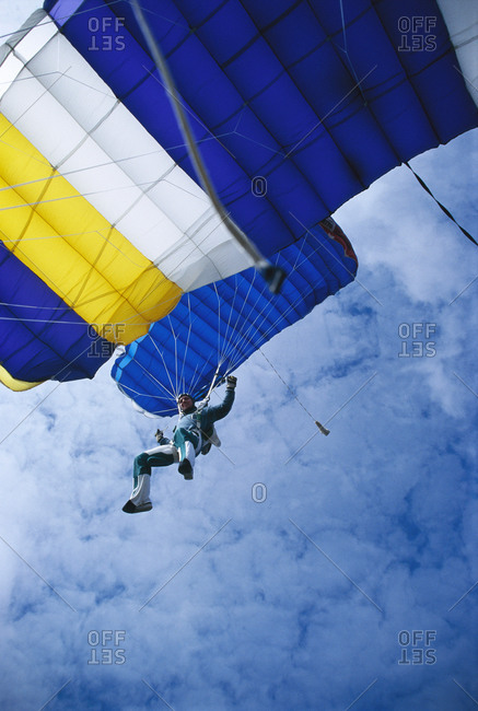 Parachute jumper in the air