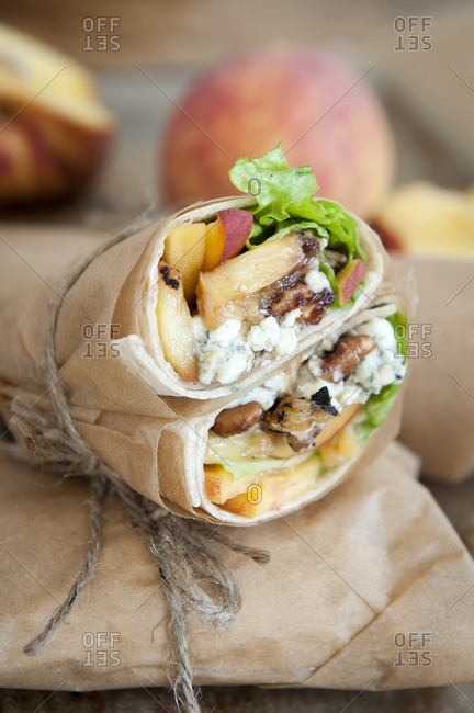 Rolled peach and blue cheese wrap