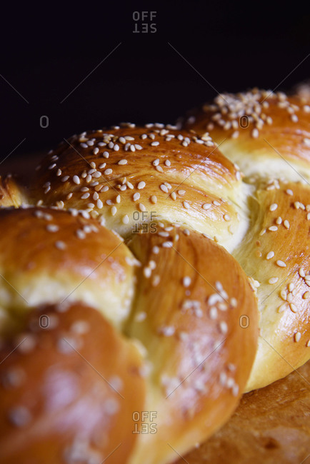 Close up of a loaf of Challah bread