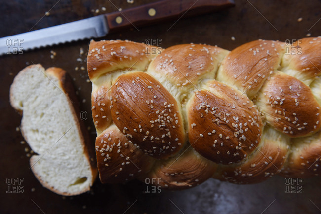 Slice cut from a loaf of Challah bread