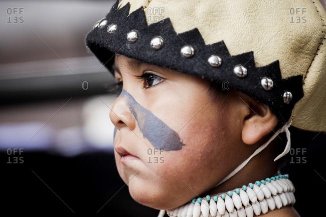 Santa Fe, New Mexico - December 31, 2010: A boy at the Indian Market, Santa Fe, New Mexico