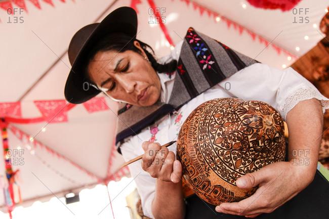 Santa Fe, New Mexico - September 13, 2012: Bolivian crafts at a folk art market in Santa Fe