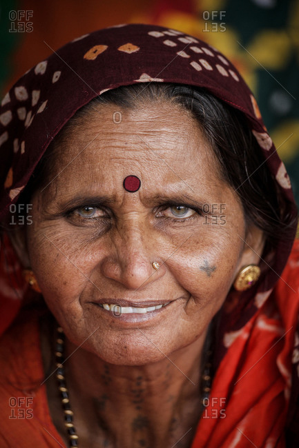 Santa Fe, New Mexico - September 14, 2012: A Rajastani woman from India in Santa Fe