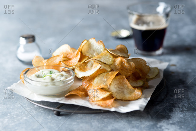Homemade fries or chips with tarragon aioli