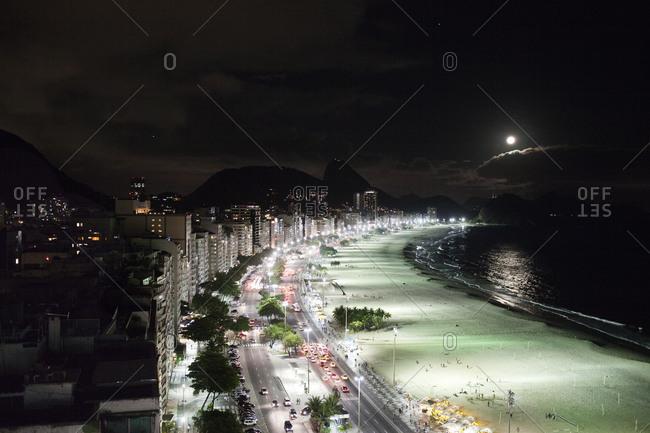 Copacabana Beach in Rio de Janeiro at night