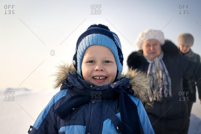 Family out enjoying the fresh snow