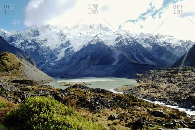 Huddleston Glacier and the Hooker River Valley in Mt. Cook National Park, South Island, New Zealand