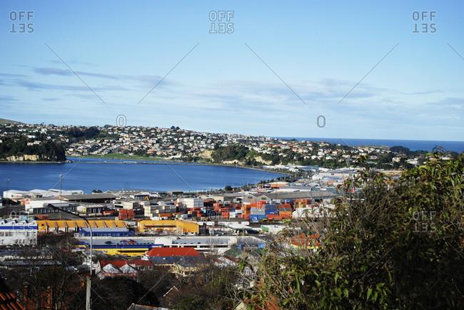 View of Otago Harbor in Dunedin, New Zealand