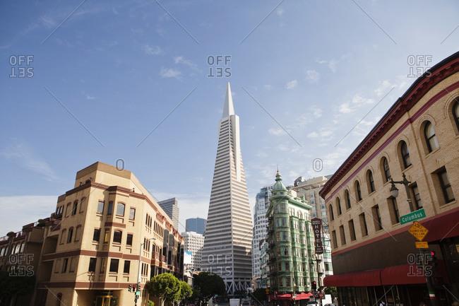 San Francisco - September 11, 2009: Looking up at the Transamerica Pyramid