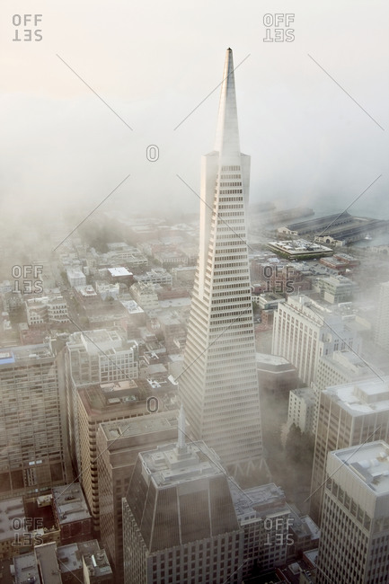 San Francisco - August 10, 2009: Transamerica Pyramid from above on a foggy day