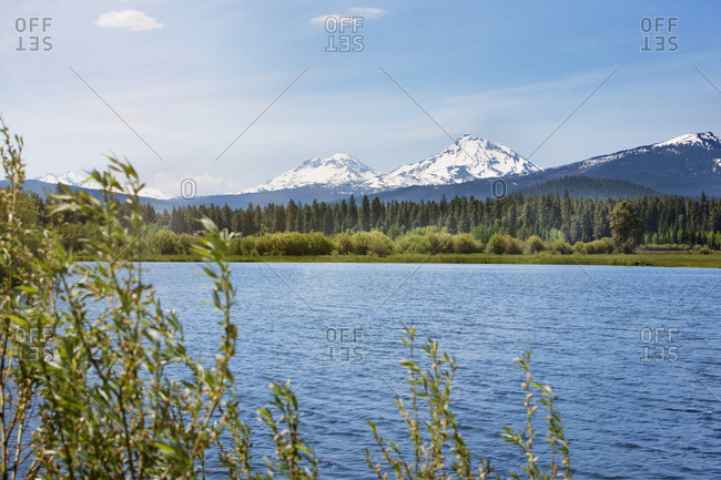 Serene view of lake and mountains