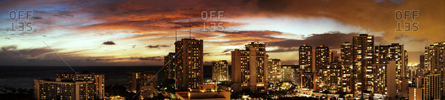 Panoramic view of Honolulu at sunset