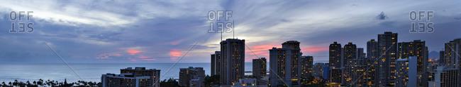 Panoramic view of sunset over Honolulu, HI