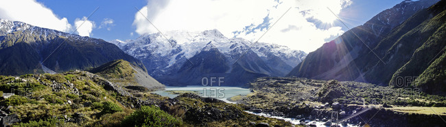 Panoramic view of Huddleston Glacier in Mt. Cook National Park