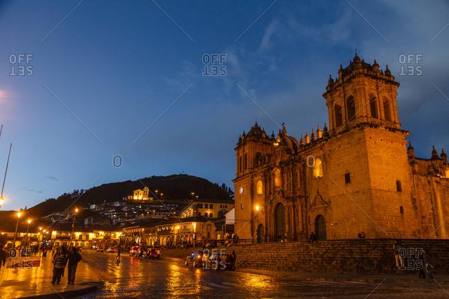 Cuzco, Peru - January 1, 2013: The Cathedral in Plaza de Armas in Cuzco, Peru