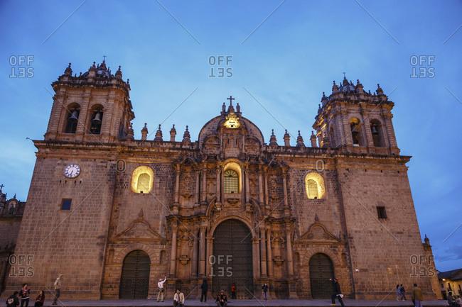 Cuzco, Peru - January 6, 2013: The Cathedral in Plaza de Armas in Cuzco, Peru