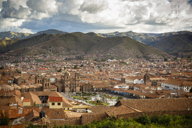 View of Cuzco and Plaza de Armas in Cuzco, Peru