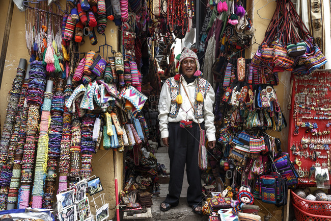 Cuzco, Peru - January 6, 2013: A handicraft shop in Cuzco, Peru